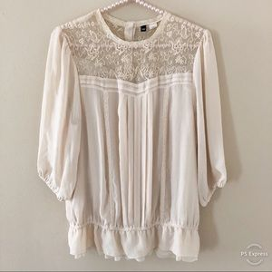 H&M Divided Cream Lacy Gauzy Top